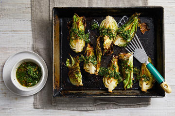Bambino Baby Cabbage Roasted with Lemon & Caper Dressing