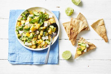 Calypso Mango Quke Feta And Mint Salsa