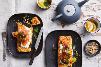 Cornbread Toast with Roasted MixaMato Tomatoes