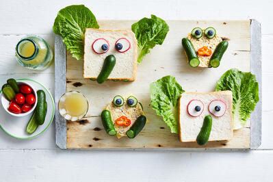 Lunchbox Recipe - Qukes Funny Face Animal Sandwiches