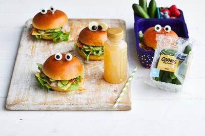 Lunchbox Recipe - Qukes® Ham & Salad Monster Rolls