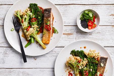 Recipe_LR_Wok-Fried Broccolini & Fioretto with Seared Salmon_Janelle Bloom_2019_