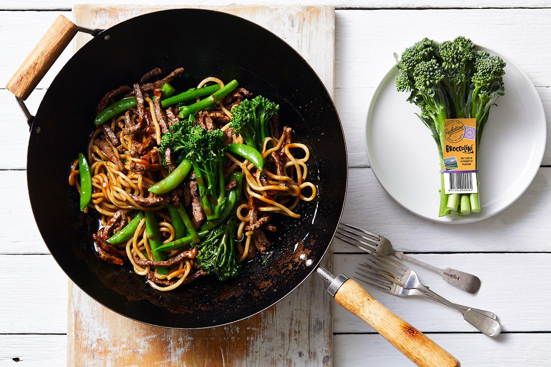 Recipe - Broccolini with Honey soy beef Hokkien Noodles