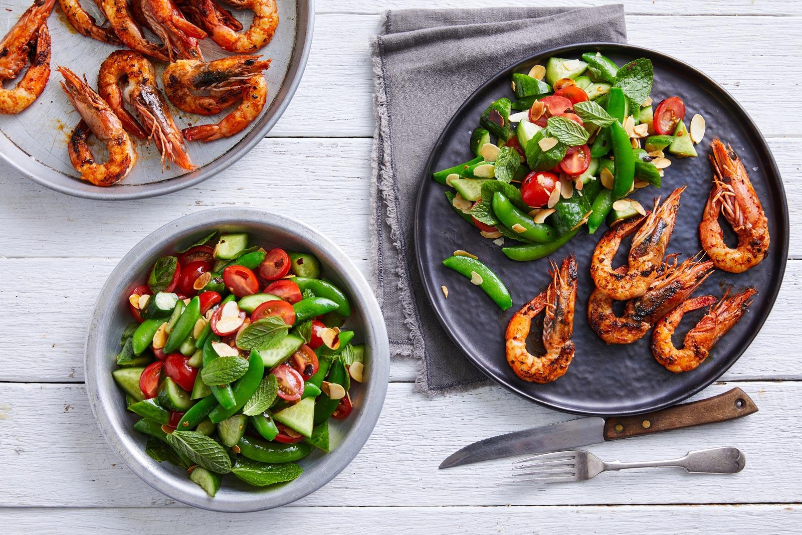 Recipe-Solanato-Qukes-Easy-Peasy-Peas-Marinated-Solonato-Qukes-&-Sugar-Snap-Pea-Salad-with-BBQ-Prawns