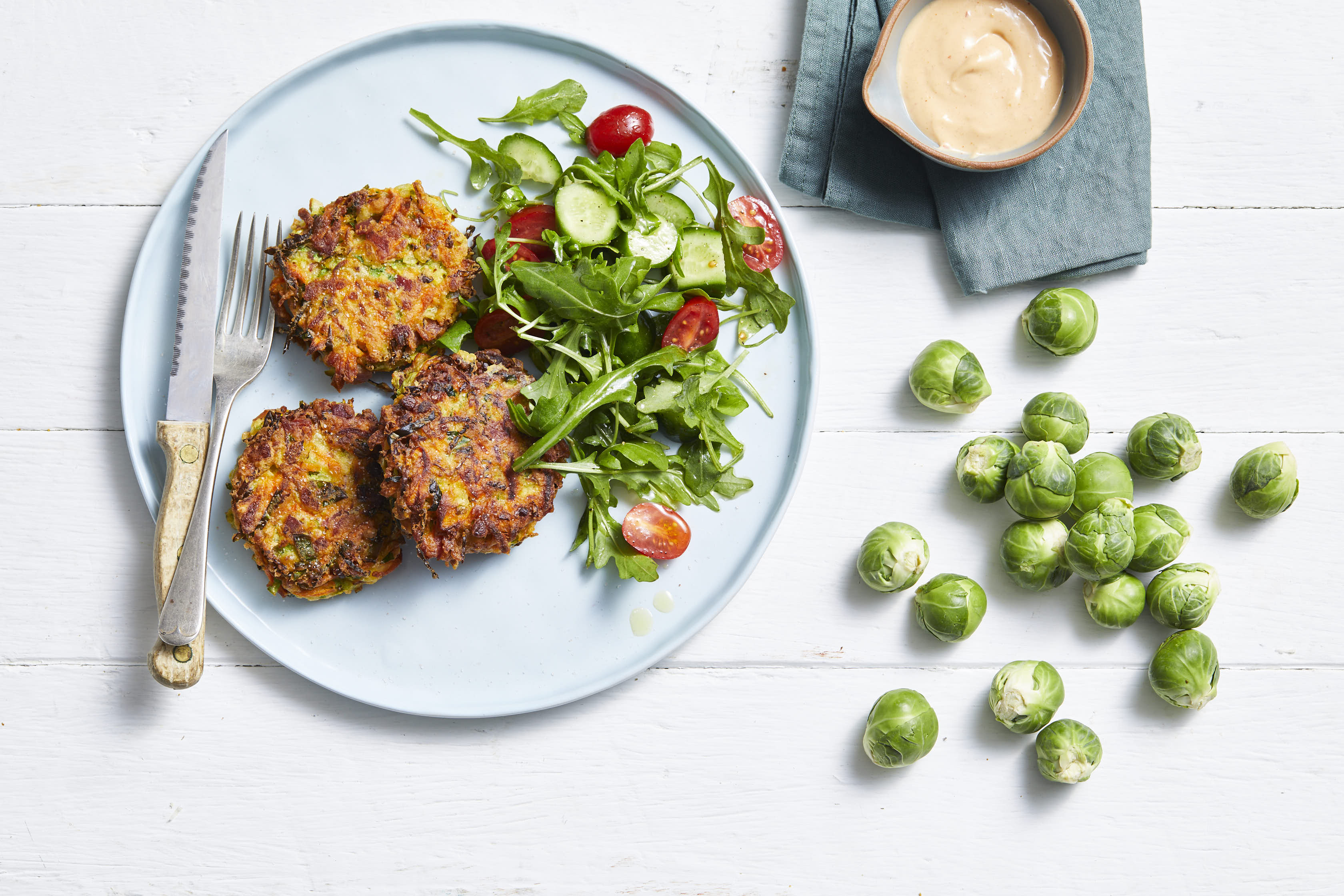 Brussels Sprouts Pancetta Haloumi Fritters